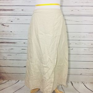 {EILEEN FISHER} 100% Linen Faux Wrap Tan Skirt